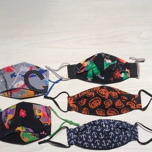 5 Youth Face Masks with adjustable straps.